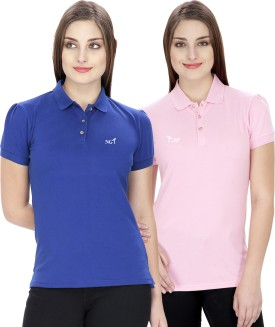 NGT Solid Women's Polo Neck Blue, Pink T-Shirt Pack Of 2