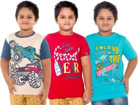 Menthol Printed Boy's Round Neck Beige, Red, Blue T-Shirt Pack Of 3