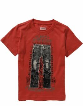 Levis Kids Graphic Print Boy's Round Neck Red T-Shirt
