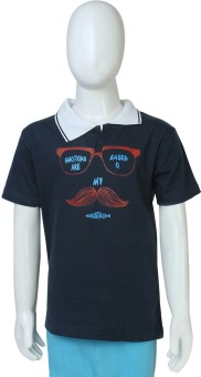 Toons My Moustache Printed Boy's Polo Neck T-Shirt