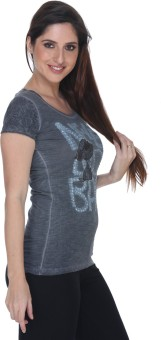 Fast N Fashion Printed Women's Round Neck Grey T-Shirt