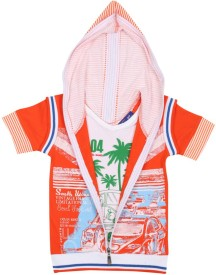 SPN Garments Printed Boy's Hooded Orange T-Shirt