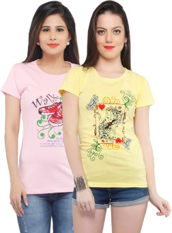 Jazzup Printed Women's Round Neck Pink, Yellow T-Shirt Pack Of 2