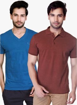 LUCfashion Solid Men's Polo Neck Blue, Brown T-Shirt Pack Of 2