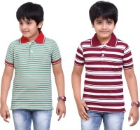 Dongli Striped Baby Boy's Polo Neck Green, Maroon T-Shirt (Pack Of 2)