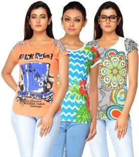 Jazzup Printed Women's Round Neck T-Shirt Pack Of 3 - TSHE8ESP8R58DE8B