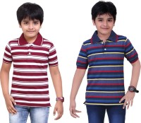 Dongli Striped Baby Boy's Polo Neck Maroon, Blue T-Shirt (Pack Of 2)