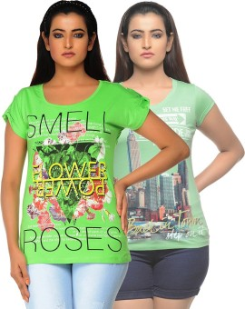 Jazzup Printed Women's Round Neck Green, Green T-Shirt Pack Of 2