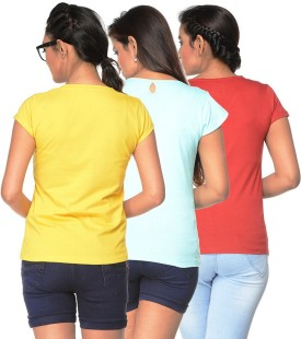 Jazzup Printed Women's V-neck T-Shirt Pack Of 3