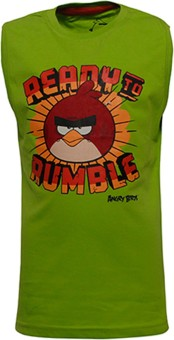 Angry Birds Printed Boy's Round Neck Green T-Shirt