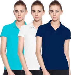 Polo Nation Solid Women's Polo Neck Blue, White, Light Blue T-Shirt Pack Of 3