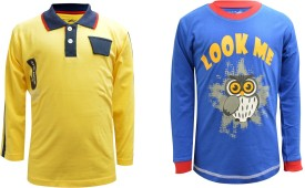 Blueriver Graphic Print Boy's Polo Neck Yellow, Blue T-Shirt Pack Of 2