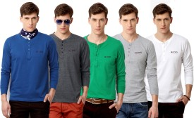 Rodid Solid Men's Henley Blue, Grey, Green, Grey, White T-Shirt Pack Of 5