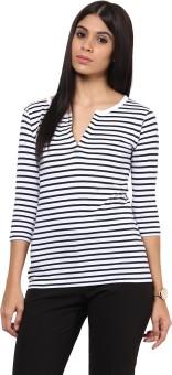 Hypernation Striped Women's V-neck Blue, White T-Shirt