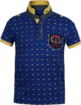 Jazzup Printed Boy's Mandarin Collar T-Shirt