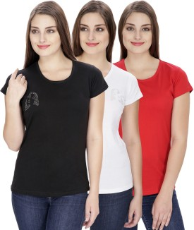 NGT Solid Women's Round Neck White, Black, Red T-Shirt Pack Of 3