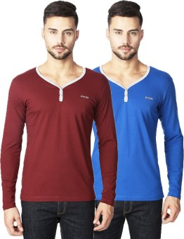 Rodid Solid Men's V-neck Maroon, Grey, Blue, Grey T-Shirt Pack Of 2