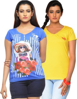 Jazzup Printed Women's Round Neck Blue, Yellow T-Shirt Pack Of 2