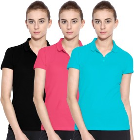 Polo Nation Solid Women's Polo Neck Light Blue, Pink, Black T-Shirt Pack Of 3