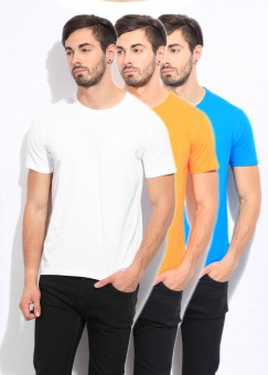 Fila Solid Men's Round Neck White, Blue, Yellow T-Shirt Pack Of 3