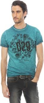Basics Printed Men's Round Neck Green T-Shirt
