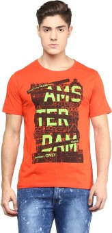 Yepme Graphic Print Men's Scoop Neck Orange T-Shirt