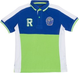 Wilkins & Tuscany Embroidered Boy's Polo Neck Blue, Green T-Shirt