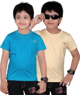 Dongli Solid Boy's Round Neck Beige, Dark Blue T-Shirt Pack Of 2
