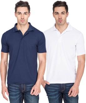 TerraVulc Solid Men's Polo Neck T-Shirt Pack Of 2