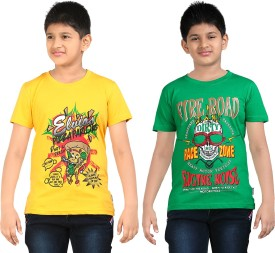 Dongli Printed Boy's Round Neck Yellow, Green T-Shirt Pack Of 2