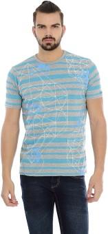 Basics Striped Men's Round Neck Grey T-Shirt