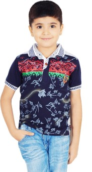 Naughty Ninos Printed Boy's Polo Neck Dark Blue T-Shirt