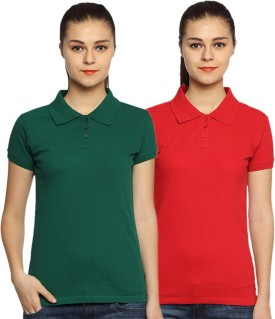 Go India Store Solid Women's Polo Neck Dark Green, Red T-Shirt Pack Of 2
