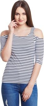 Hypernation Striped Women's Round Neck Blue, White T-Shirt - TSHEM7PZVXGR7TQS