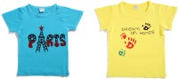 Zonko Style Solid Baby Girl's Round Neck Blue T-Shirt (Pack Of 2)
