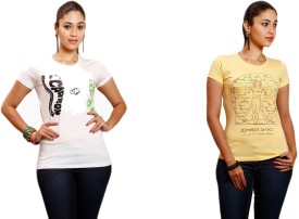 Yaari Printed Women's Round Neck Yellow, White T-Shirt Pack Of 2