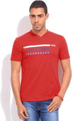 FILA Solid Men's V-neck T-Shirt