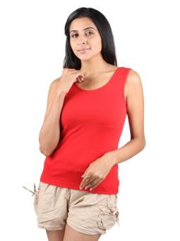 Splash 119-red Solid Women's Round Neck T-Shirt