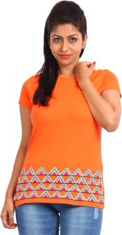 EthnicShack Orange Self Design Women's Round Neck T-Shirt