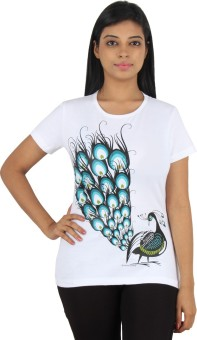 Stallion Cottons Printed Women's Round Neck White T-Shirt