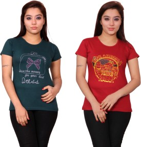 Aloha COMBO-14 Printed Women's Round Neck T-Shirt (Pack Of 2)