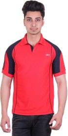 EX10 Solid Men's Polo Neck Red T-Shirt