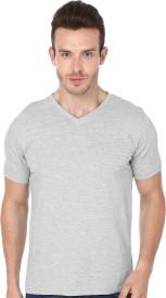 99Tshirts Solid Men's V-neck Grey T-Shirt