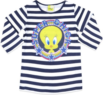 Tweety Tweety Striped Girl's Round Neck T-Shirt