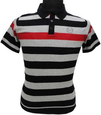 BK Black Striped Men's Flap Collar Neck T-Shirt
