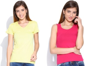 Happy Hippie Solid Women's V-neck Yellow, Pink T-Shirt Pack Of 2