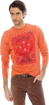 Basics Printed Men's Round Neck Orange T-Shirt