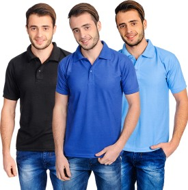 Superjoy Solid Men's Polo Neck Light Blue, Black, Blue T-Shirt Pack Of 3
