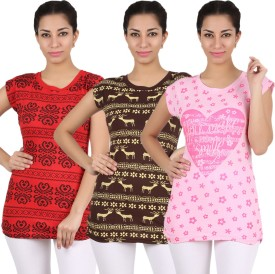 Be Style Printed Women's Round Neck T-Shirt Pack Of 3