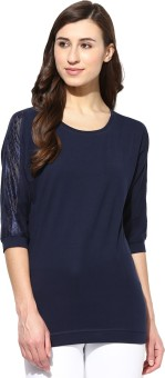 Tshirt Company Solid Women's Round Neck Dark Blue T-Shirt